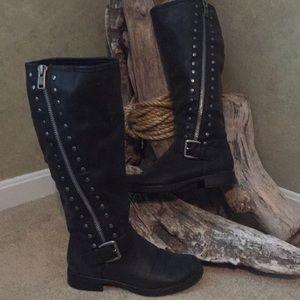 SOFT black studded/zip boots